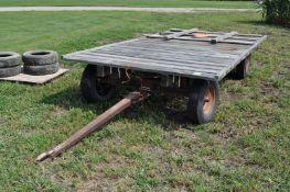 "14' x 7' flat rack hay wagon, Montgomery Ward gear, 14"" tires"