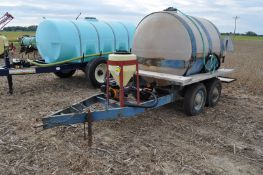 """1000 gal shuttle trailer, 1000 gal poly tank, tandem axle, 2"""" Banjo poly pump, 15 gal inductor"""
