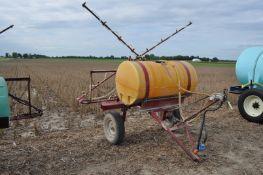30' pull-type Kuker sprayer, 200 gal poly tank