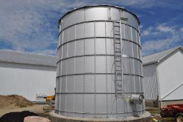 """15' x 15' H Martin / Silver Shield grain bin, 6"""" unload, 12"""" fan w/ air tube, concrete floor, flat"""