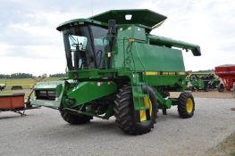 John Deere 9400 combine, 24.5-32 drive tires, 14.9-24 rear, chopper, Vittetoe hyd chaff spreader