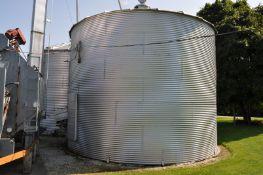 "24' x 6 ½ narrow ring grain bin w/ air floor, 2 screw stir-all, 6"" unload tube w/ flighting"