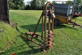 """Continental post hole digger, 12"""" and 8"""" bits, mounted"""