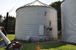 "30' x 7 narrow ring grain bin, 6"" unload auger, 2 hp motor, air floor, 12"" fan, carry-in sweep"