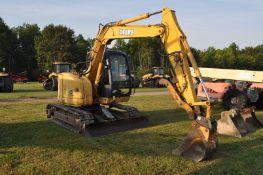 "John Deere 75C excavator, 18"" rubber pads, C/H/A, 8' blade, 4' smooth bucket, manual coupler"