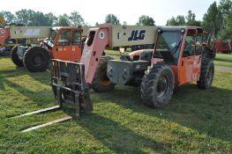 JLG G9-43A telehandler, 4x4, John Deere diesel, all wheel steer, 13.00-24 tires, cab, 7534 hrs