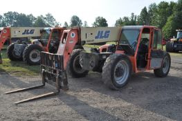 JLG G9-43A telehandler, 4x4, John Deere diesel, all wheel steer, 370/75-28 tires, cab, 6711 hrs