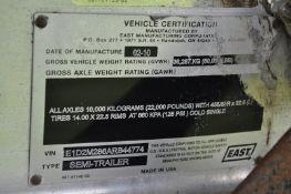 2010 28' East alum dump trailer, alum frame, tandem axle, spring ride, alum wheels, 11R22.5 tires