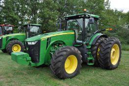 John Deere 8370R tractor, MFWD, Michelin Mach X Bib 620/70R46 rear duals, 600/70R30 front, IVT, ILS