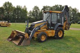 John Deere 410J backhoe, C/H/A, 4x4, 21L-24 rear, 12.5/80R18 front, 7 ½' front bucket, hyd coupler