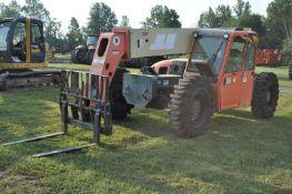 JLG G9-43A telehandler, 4x4, Perkins diesel, all wheel steer, 13.00-24 solid tires, cab, 7441 hrs