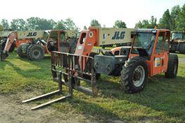 JLG G9-43A telehandler, 4x4, John Deere diesel, all wheel steer, 13.00-24 tires, cab, 6345 hrs