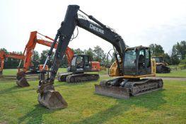 "John Deere 135D excavator, 20"" rubber pads, C/H/A, 8' hyd blade, JRB hyd coupler, 4' smooth bucket"