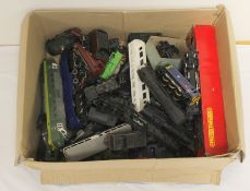 Collection of vintage model railway engines and carriages, all play worn with some damages,