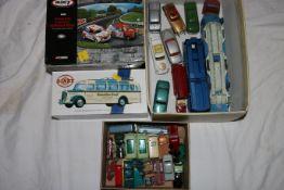 Corgi Toys diecast model vehicles including Ecurie Ecosse Racing Car Transporter, Carrimore Car