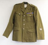 British Army dress uniform jacket having Polikoff Universal Ltd label, with crowned rose (Queen's