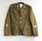 "British Army dress uniform jacket having Bernard Uniforms Ltd label penned ""0608 Grant"", HLI"