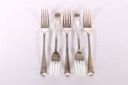 Set of five George III silver table forks by George Smith London 1804, 323g