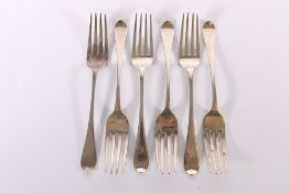 A harlequin set of six silver table forks of oar pattern by Thomas A Finlayson and Andrew Wilkie