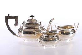 George VI silver three piece tea set of boat shape, makers marks rubbed, 1948, Birmingham 1058g