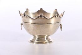 """Silver trophy bowl in the form of a Monteith bowl engraved """"Imperial Bank of India, Jock Morrison"""