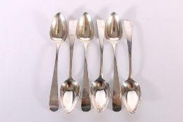 Set of six George III silver dessert spoons of oar pattern by John Graham Edinburgh 1805, 188g gross