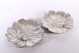 An attractive pair of silver leaf dishes, makers mark JFP&CO and four further hallmarks, 862g gross,