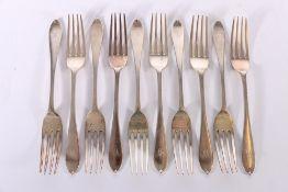 Set of ten Victorian silver dessert forks of oar shape by Josiah Williams & Co (George Maudsley