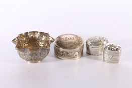 Indian white metal circular box decorated with elephants 115g 7.5cm diameter, a similar bowl with