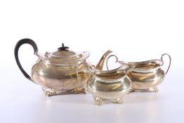 Victorian silver three piece tea set of boat shape by Atkin Brothers (Henry Atkin) Sheffield 1895