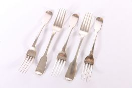 """Set of five early 19th century silver dessert forks of fiddle pattern with crests to the reverse """""""