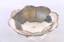 George V Art Deco period silver octagonal fluted bowl by Josiah Williams & Co (David Landsborough