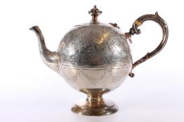 Victorian silver bullet teapot with engraved foliate decoration, scroll handle and coronet finial by