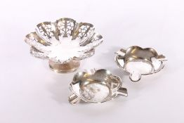 George V Art Deco period silver pedestal dish with pierced rim of octofoil shape by Emile Viner