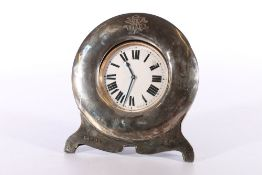 White metal cased keyless Goliath pocket watch held within Edwardian silver easel frame byJohn S