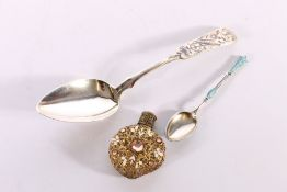 Russian 84zol grade silver spoon with engraved decoration stamped AK1844, 48g 19cm long, a Russian