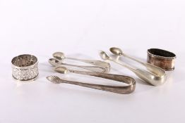 A pair of antique silver sugar tongs by Peter Grierson Edinburgh C1839, another with shell bowls