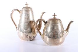 Victorian silver coffee and tea pots with star engraved design byEdward & John Barnard London