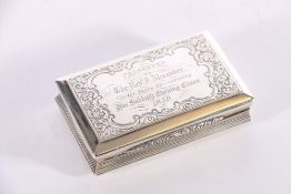 Victorian silver snuff box with engraved foliate decoration and gilded interior byNathaniel Mills