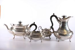 Victorian silver four piece tea set bySibray, Hall & Co Ltd (Charles Clement Pilling), London 1900,