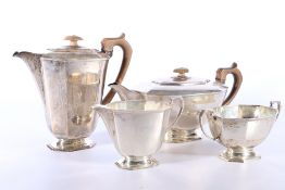 George VI silver four piece tea set of irregular octagonal form byFrank Cobb & Co Ltd Sheffield