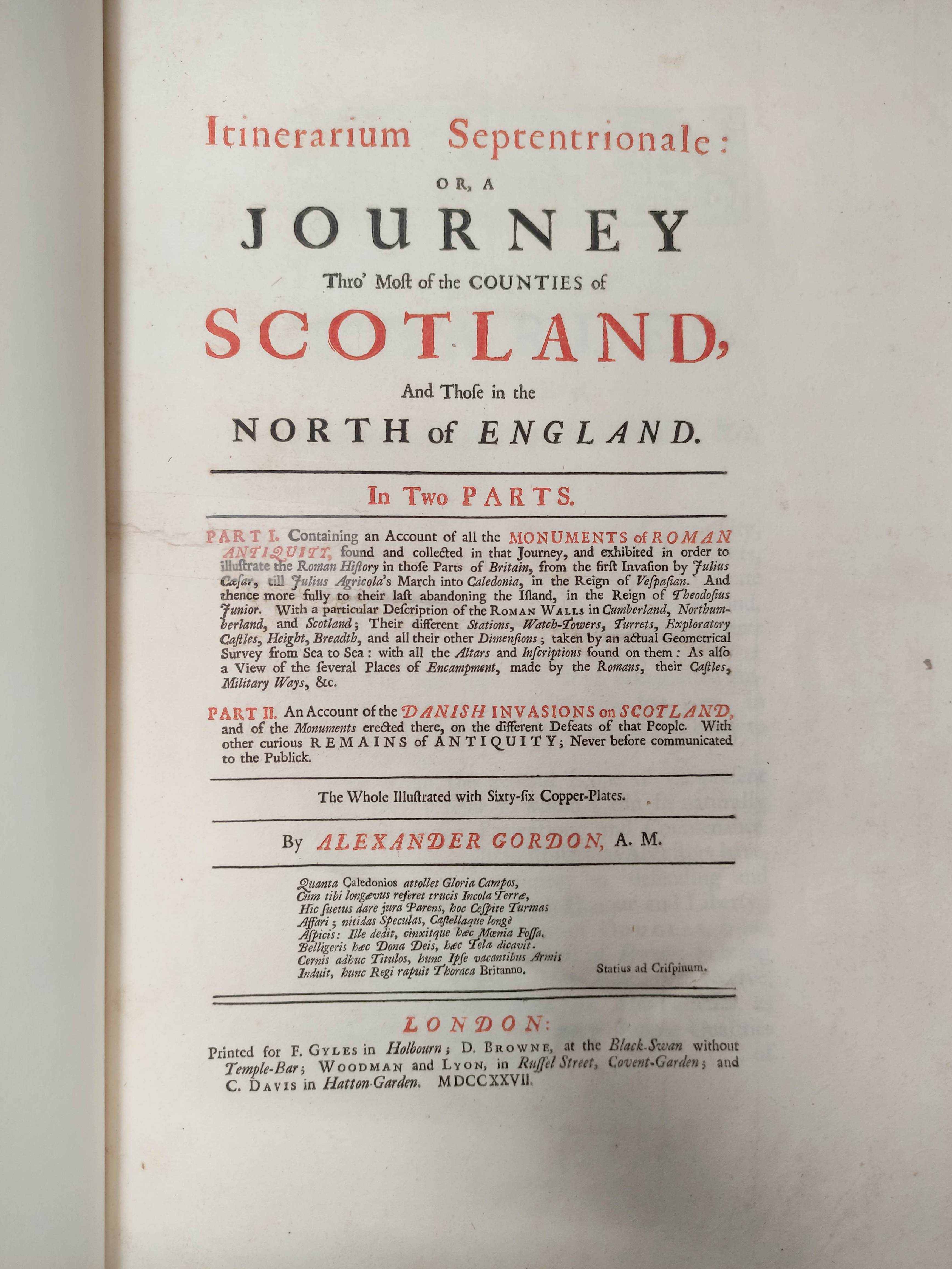 GORDON ALEXANDER.Itinerarium Septentrionale or A Journey Thro' ... Scotland & Those in the North - Image 3 of 9