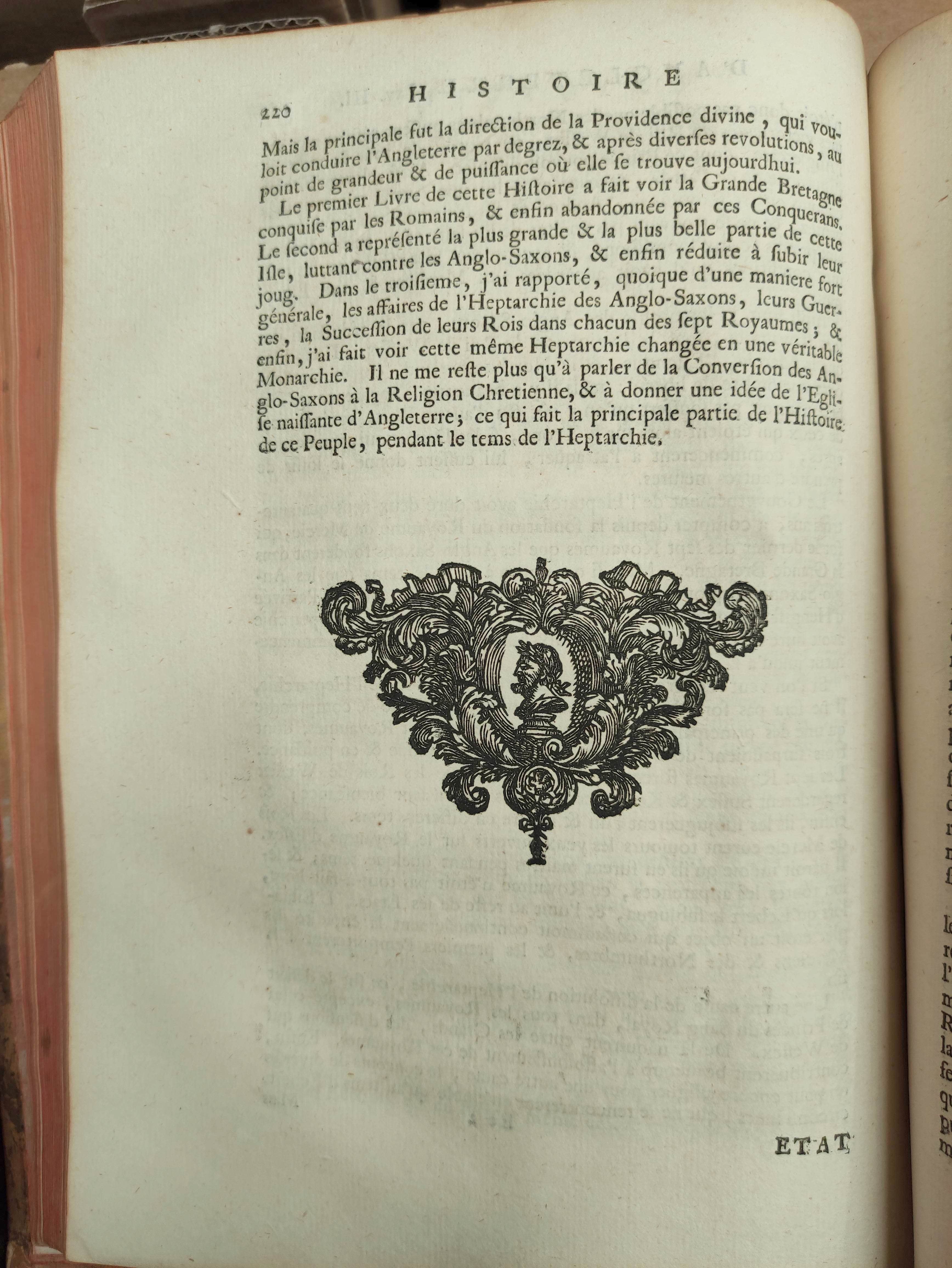DE RAPIN THOYRAS.Histoire D'Angleterre. 10 vols. Eng. plates, fldg. tables, etc. Quarto. Calf. The - Image 8 of 8