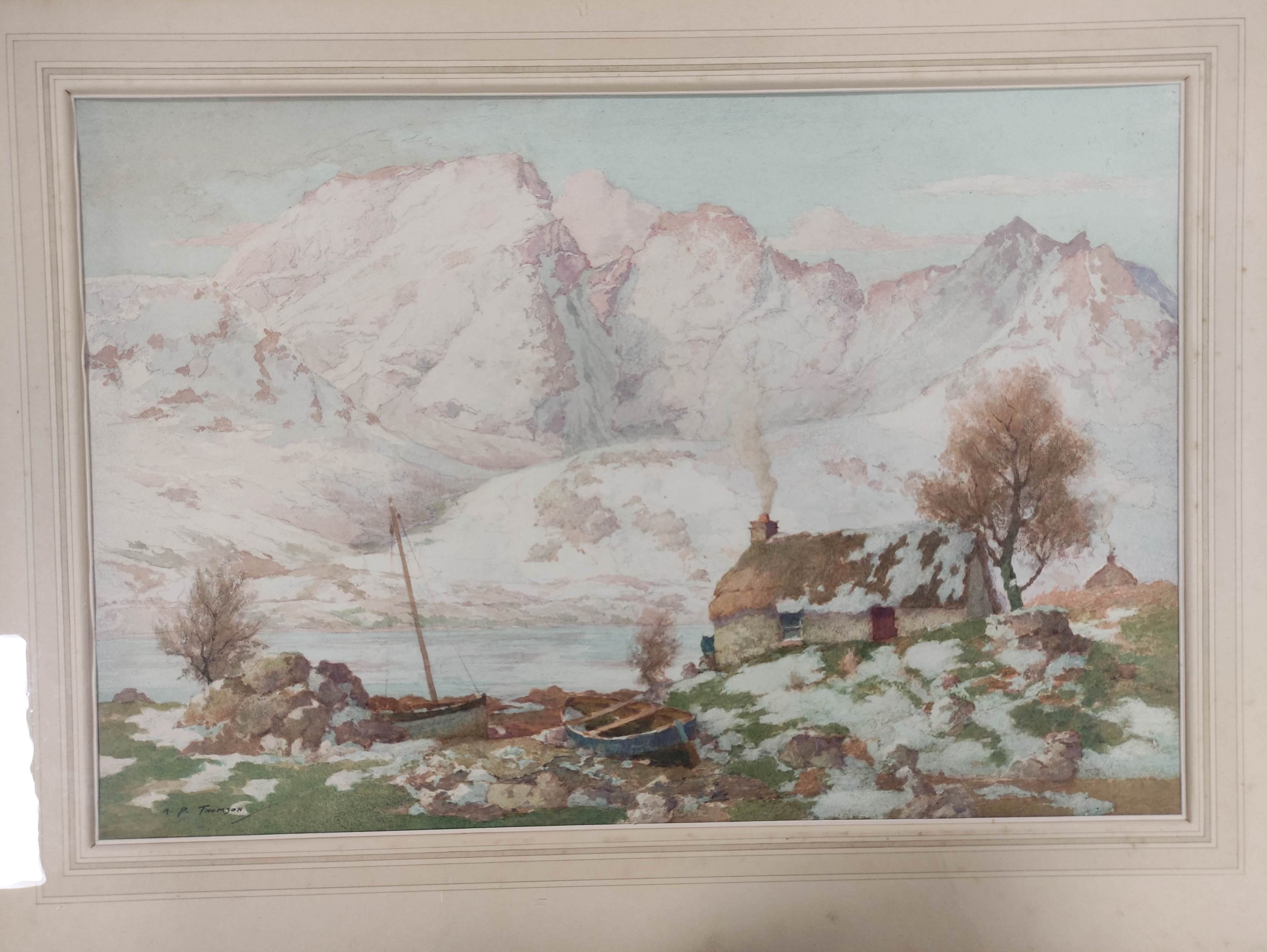 """A. P. THOMSON RSW. """"The snow over the hills of Skye"""". Signed, watercolour. 36cm x 54cm. - Image 2 of 5"""