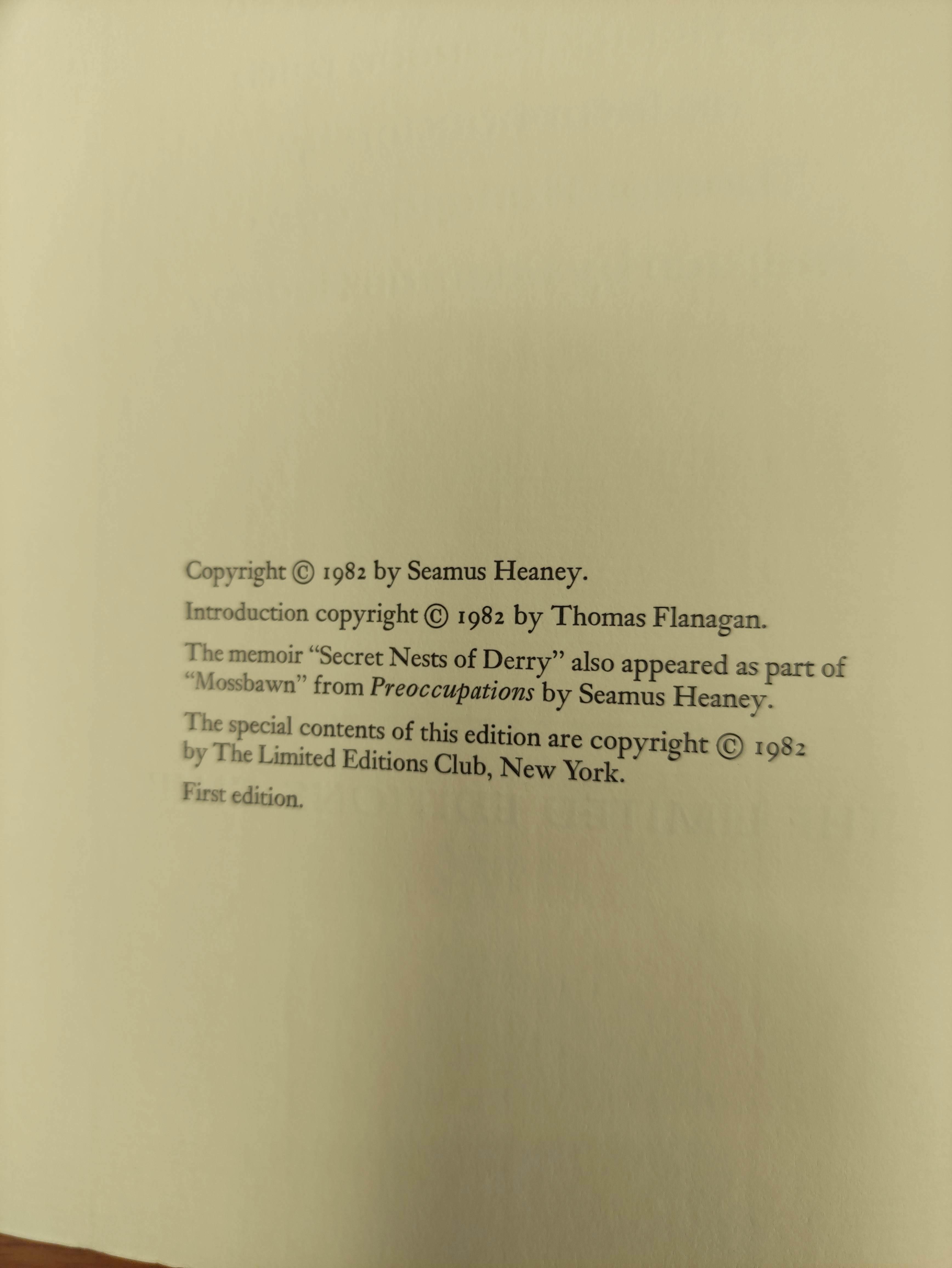 HEANEY SEAMUS.Poems & Memoir. Signed ltd. ed. 1197/2000. Plates. Folio. Calf in slip case. Limited - Image 5 of 8