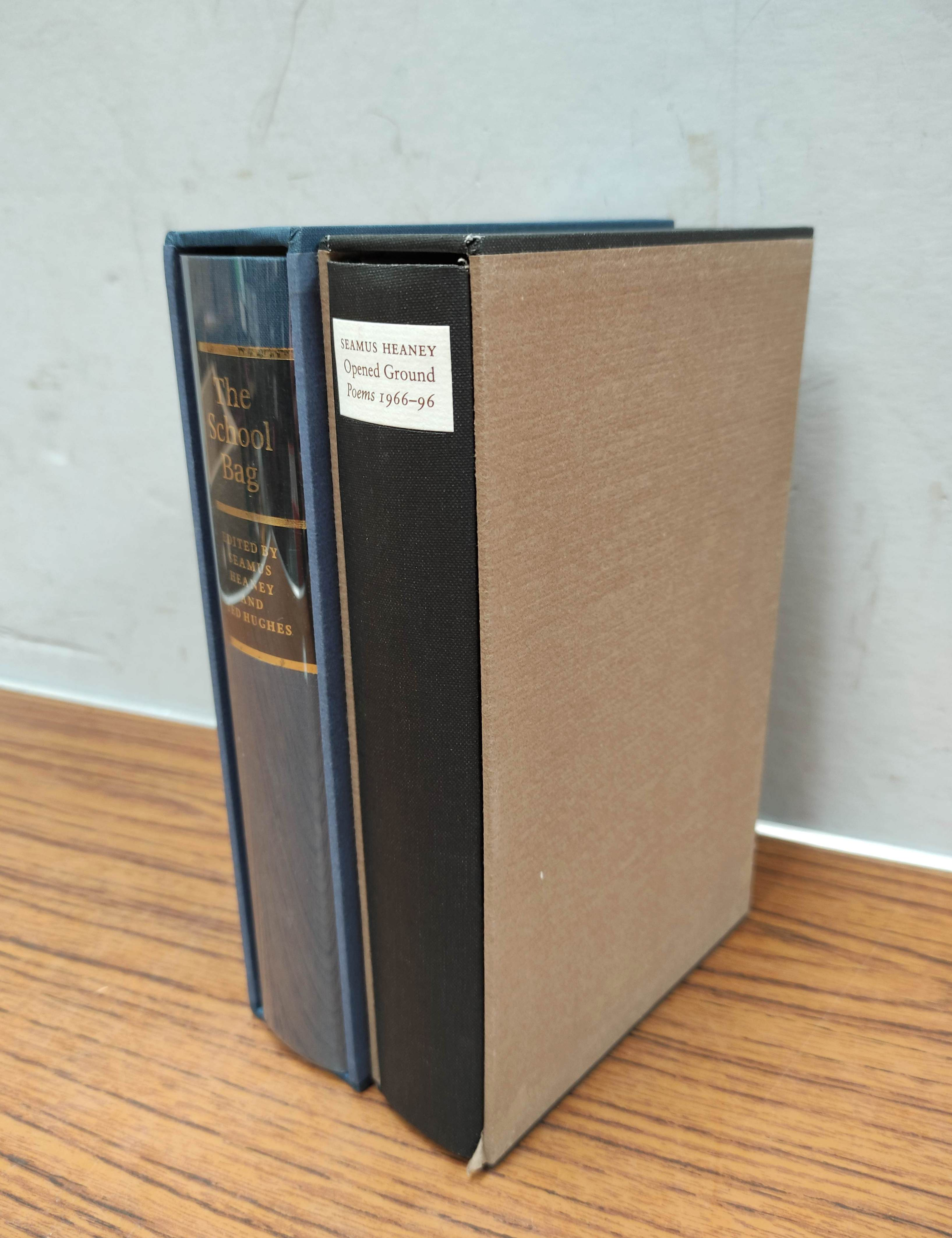 HEANEY SEAMUS. The School Bag. Ltd. ed. 61/300 signed by Heaney & Ted Hughes. Orig. blue & yellow