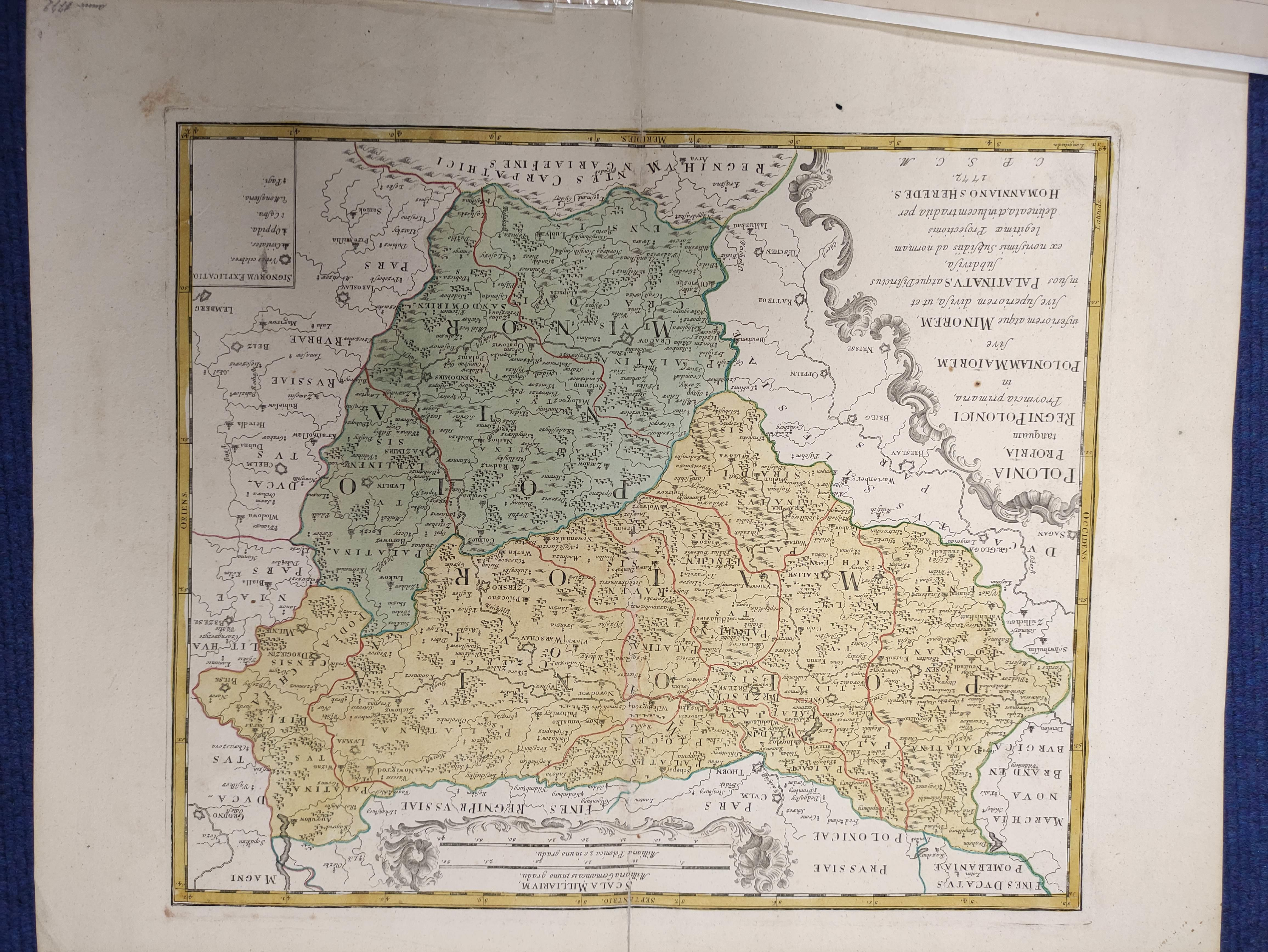 HOMANNIANO HEREDES (Pubs.)Polonia. Hand col. dbl. pge. eng. folio map. 1772; also 5 other eng. maps - Image 5 of 9