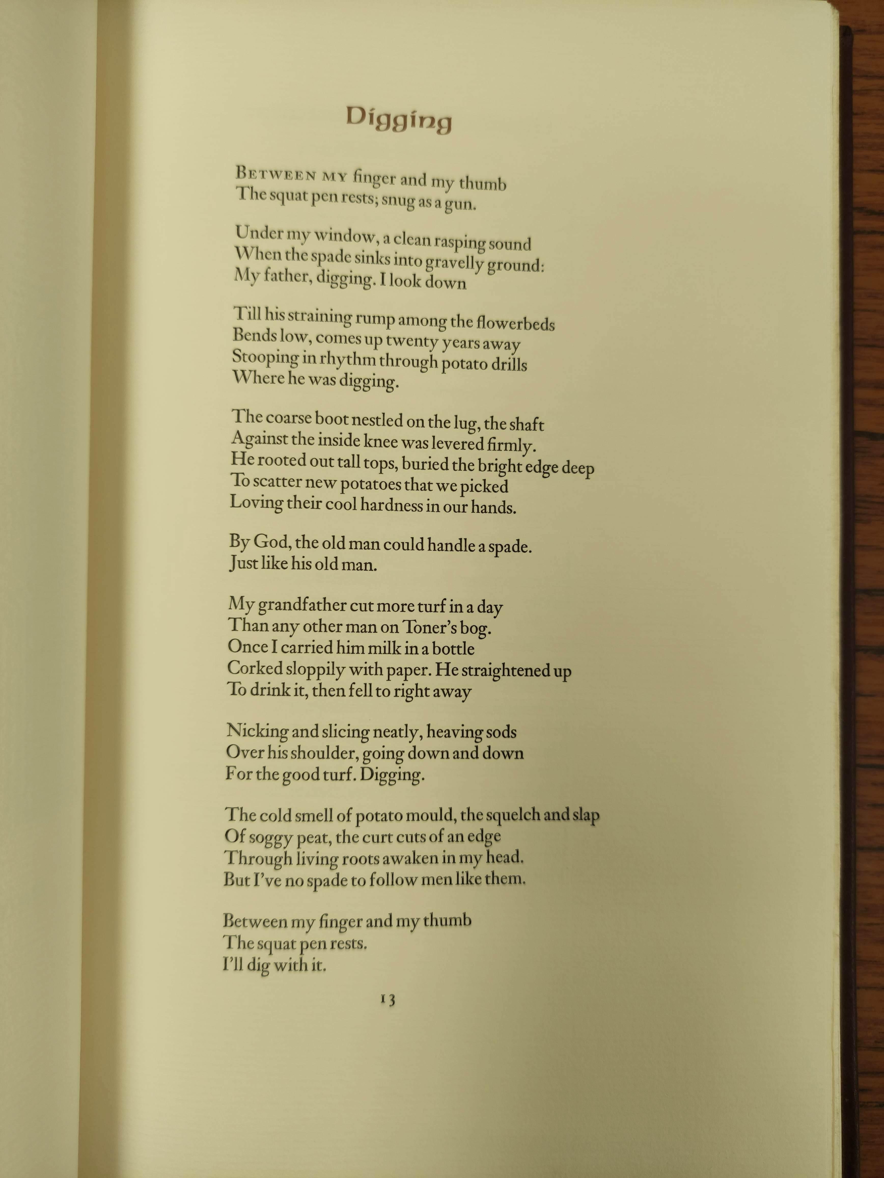 HEANEY SEAMUS.Poems & Memoir. Signed ltd. ed. 1197/2000. Plates. Folio. Calf in slip case. Limited - Image 7 of 8
