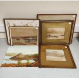 F. B. DAVIS. Portree Bay. Signed, watercolour. 26cm x 38cm. Also 7 other oils & watercolours,