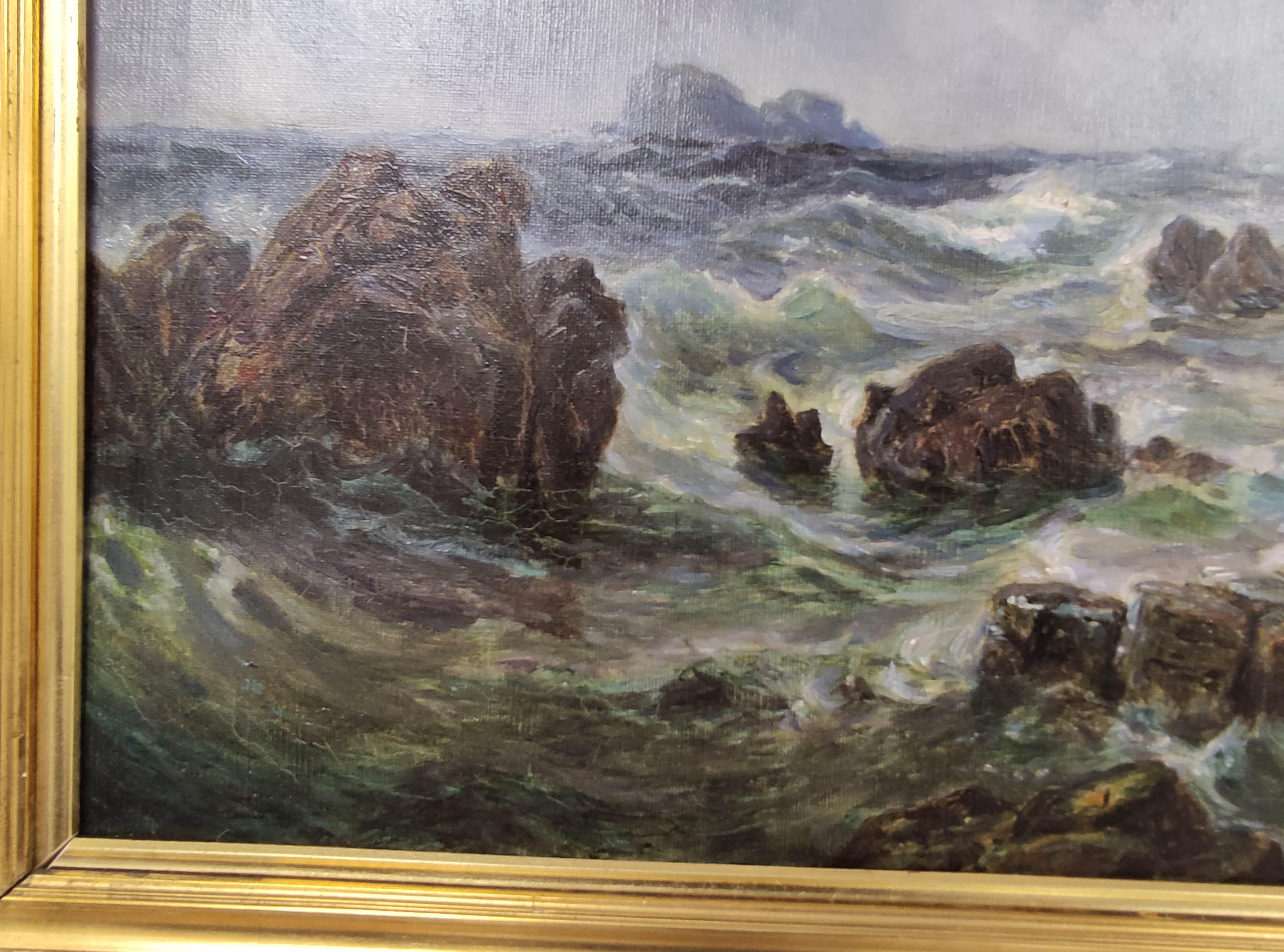 SCOTTISH SCHOOL C.1800. Fingals Cave, Staffa. Oil on canvas. 58cm x 88cm. - Image 4 of 4